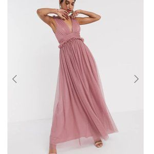 ASOS spot tulle mesh plunge pep waist maxi Dress 6